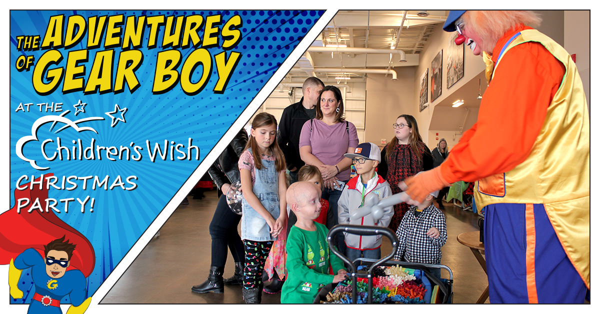 The Adventures of Gear Boy at the Children's Wish Christmas Party!
